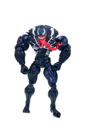 studio photograph: Adelaide, Australia - January 02, 2016: A studio photograph of a venom action figure from the Spiderman universe. Merchandise from Marvel comics and movies are highly sought after collectables.