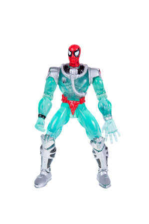 spiderman: Adelaide, Australia - October 26, 2015:An isolated shot of a Spiderman action figure from the Marvel universe. Merchandise from Marvel comics and movies are highy sought after collectables.