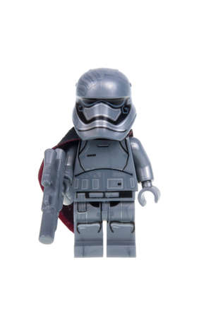 stormtrooper: Adelaide, Australia - January 15, 2016: A studio shot of a Captain Phasma Force Awakens minifigure from the Star Wars Force Awakens Movie. Lego is extremely popular worldwide with children and collectors. Editorial