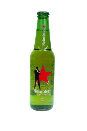 internationally: Adelaide, Australia - December 12, 2015: A Bottle of Heineken Beer isolated on a white background, specially marked to promote the James Bond Movie, Spectre. Heineken is popular beer distributed internationally with over 2.74 billion litres distributed in Editorial