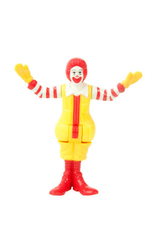 mcdonald: Adelaide, Australia - May 04, 2015:A studio shot of a Ronald McDonald figurine. Issued by McDonalds with Childrens Meals one of Australias largest Fast Food Chains.