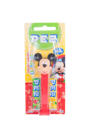 mechanical mouse: Adelaide, Australia - January 21, 2016: A Mickey Mouse Pez dispenser isolated on a white background. Pez is an Austrian company famous for its candy and its character mechanical dispensers. The Dispensers are highly sought after collectables.