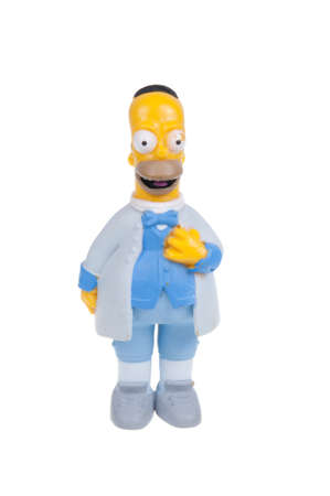 homer: Adelaide, Australia - January 15, 2016: A studio shot of a Homer Simpson Figurine from the animated series The Simpsons. The Simpson is a popular worldwide TV Series. Merchandise from the TV series are highly sought after collectables.