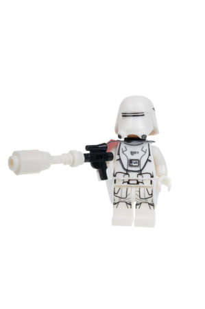 stormtrooper: Adelaide, Australia - January 15, 2016: A studio shot of a First Order Snowtrooper Force Awakens minifigure from the Star Wars Force Awakens Movie. Lego is extremely popular worldwide with children and collectors.