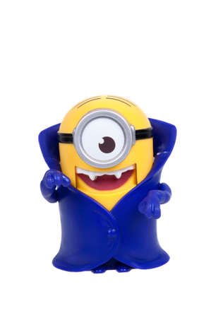 conjunction: Adelaide, Australia - January 21, 2016: A Minion Vampire Figurine issued with McDonalds Happy Meals in 2015. The toys are issued in conjunction with Happy Meal Purchases to promote the release of the Minion movie.