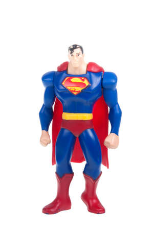collectable: Adelaide, Australia - January 15, 2016: A studio shot of a Superman figurine from the DC Comics and Movies. Superman is extremely popular worldwide with children and collectors.