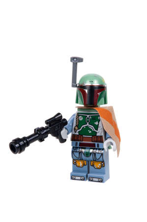 appears: Adelaide, Australia - January 21, 2016: A studio shot of a Boba Fett minifigure from the Star Wars Empire Strikes Back Movie. Lego is extremely popular worldwide with children and collectors. This Minifigure appears in the 75137 Carbon Freezing Chamber Le