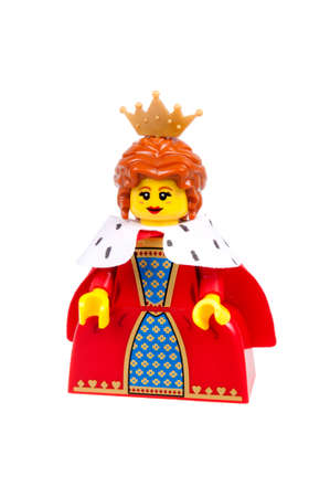 collectable: Adelaide, Australia - January 15, 2016:An isolated shot of a Queen Lego Minifigure from Series 15 of the collectable lego minifigure toys. Lego is very popular with children and collectors worldwide. Editorial
