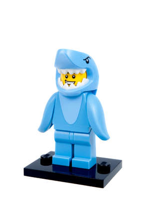 collectable: Adelaide, Australia - January 21, 2016:An isolated shot of a Shark Suit Guy Guy Lego Minifigure from Series 15 of the collectable lego minifigure toys. Lego is very popular with children and collectors worldwide.