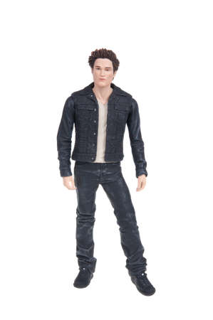 collectable: Adelaide, Australia - January 7, 2016: An isolated studio shot of an Edward Action Figure. A figure from the very populat Twilight Book and movie series. Editorial