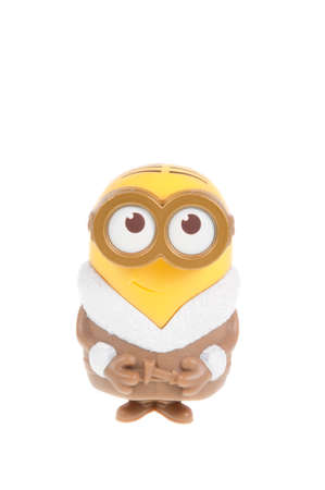 conjunction: Adelaide, Australia - September 28, 2015: A Talking Ice Cave Minion Figurine issued with McDonalds Happy Meals in 2015. The toys are issued in conjunction with Happy Meal Purchases to promote the release of the Minion movie.