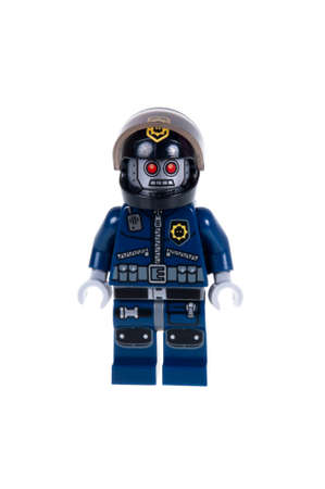 robo: Adelaide, Australia - October 5, 2015: A Studio shot of a Robo SWAT Lego Minifigure from the 70807 MetalBeards Duel Lego Kit isolated on a white background. Lego is very popular with children and collectors worldwide.