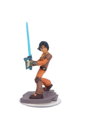 bridger: Adelaide, Australia - January 14, 2016: A studio shot of a Ezra Bridger Disney Infinity 3.0 Figurine from the Star Wars movies. Marvel comics and movies are extremely popular worldwide.