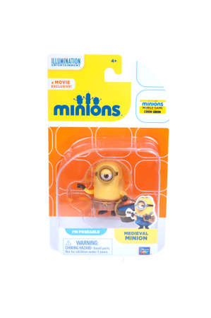 animated action: Adelaide, Australia - January 07, 2016: An isolated image of a Medieval Minion Action Figure from the animated movie Minions. Minions are a very popular animated characters from the despicable me and Minions movies with merchandise being highly sought aft
