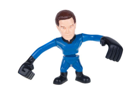 marvel: Adelaide, Australia - December 25, 2015: A studio shot of a Mr Fantastic Fantastic Four Action Figure from the Marvel universe. Merchandise from Marvel comics and movies are highy sought after collectables.