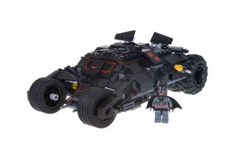 batman: Adelaide, Australia - December 25, 2015: A studio shot of a Custom Lego Batman Tumbler vehicle from the popular Dc Comics Movies. Batman is popular with children and collectors worldwide. Editorial