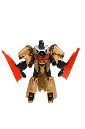 animated action: Adelaide, Australia - December 11, 2015: A studio shot of a Transformers Action Figure from the Transformers. Transformers is a popular animated and movie series. Toys from the series are highly sought after collectables.