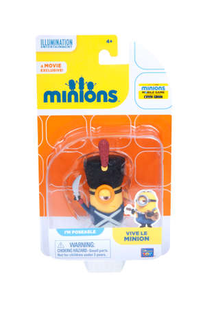 animated action: Adelaide, Australia - January 07, 2016: An isolated image of a Viva Le Minion Action Figure from the animated movie Minions. Minions are a very popular animated characters from the despicable me and Minions movies with merchandise being highly sought afte Editorial