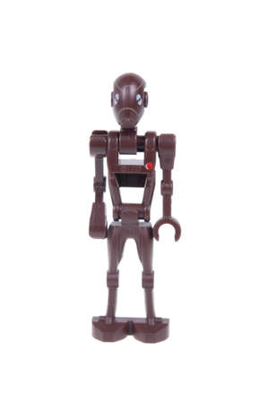 commando: Adelaide, Australia - January 03, 2016: A studio shot of a Commando Droid Lego minifigure from the Star Wars Movie Series. Lego is extremely popular worldwide with children and collectors.