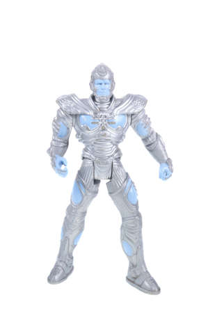 adversaries: Adelaide, Australia - September 28, 2015: An isolated image of a Mr Freeze Action Figure. Mr Freeze is one of Batmans adversaries. Batman is one of DC Comics most popular superheros, spawning many movies, TV series and collectables.