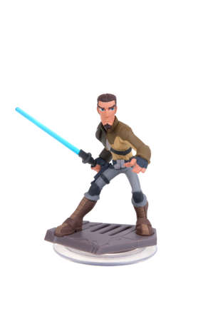 disney: Adelaide, Australia - January 14, 2016: A studio shot of a Kanan Jarrus Disney Infinity 3.0 Figurine from the Star Wars movies. Marvel comics and movies are extremely popular worldwide.