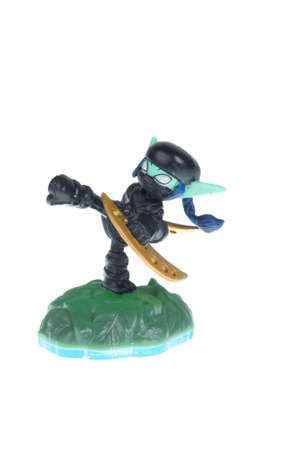Adelaide, Australia - November 30, 2015: Skylanders Swapforce game character Stealth Elf. When a Skylander figurine is placed on the Portal of Power, that character will come to life in the game with their own unique abilities and powers. The skylanders g
