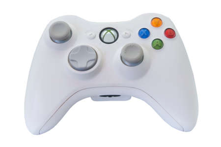 xbox: Adelaide, Australia - January 30, 2015: A studio shot of a Microsoft Xbox 360 video game controller. A popular video game entertainment system sold worldwide since 2005. Microsoft have sold over 80 million consoles worldwide making one of the top ten sell
