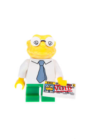 hans: Adelaide, Australia - October 26, 2015: A studio shot of a Hans Moleman Series 2 Lego minifigure from the animated series The Simpsons. Lego is extremely popular worldwide with children and collectors.