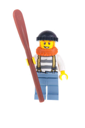 crook: Adelaide, Australia - October 26, 2015: A studio shot of a Crook Officer Lego City minifigure from the popular Lego Series. Lego is extremely popular worldwide with children and collectors. Editorial