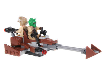 mini bike: Adelaide, Australia - February 03, 2016: A photo of a Star Wars Speeder Bike Lego Minifigure isolated on a white background. Lego and Star Wars merchandise are highly sought after collectables.