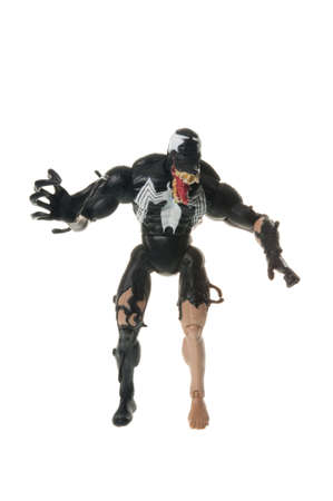 studio photograph: Adelaide, Australia - July 01, 2015: A studio photograph of a venom action figure from the Spiderman universe. Merchandise from Marvel comics and movies are highly sought after collectables. Editorial