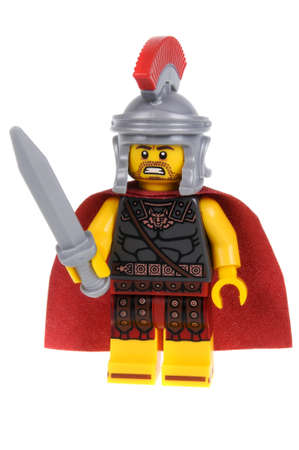 commander: Adelaide, Australia - February 07 2016:A studio shot of a Roman Commander Lego minifigure from Minifigure Series 10. Lego is extremely popular worldwide with children and collectors.