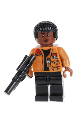 collectable: Adelaide, Australia - February 09, 2016: A studio shot of a Finn Force Awakens minifigure from the Star Wars Force Awakens Movie. Lego is extremely popular worldwide with children and collectors. Editorial