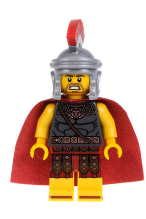 Adelaide, Australia - February 07 2016:A studio shot of a Roman Commander Lego minifigure from Minifigure Series 10. Lego is extremely popular worldwide with children and collectors.