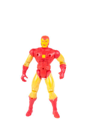marvel: Adelaide, Australia - July 29, 2015:An isolated shot of a Vintage Iron Man action figure from the Marvel universe. Merchandise from Marvel comics and movies are highy sought after collectables. Editorial