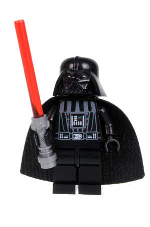Adelaide, Australia - February 07, 2016: A studio shot of a Darth Vader Lego minifigure from the movie series Star Wars. Lego is extremely popular worldwide with children and collectors. Editorial