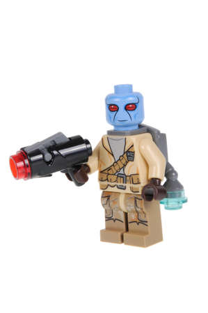 sought: Adelaide, Australia - February 03, 2016: A photo of a Star Wars Duros Rebel Soldier Lego Minifigure isolated on a white background. Lego and Star Wars merchandise are highly sought after collectables.