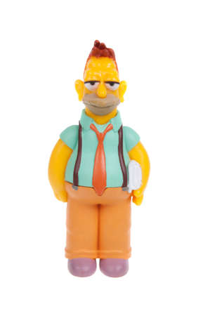 abe: Adelaide, Australia - January 15, 2016:A studio shot of a Young Abe Simpson Figurine from the animated series The Simpsons. The Simpson is an extremely popular worldwide TV Series.