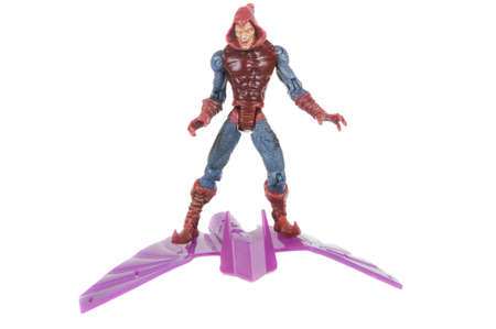marvel: Adelaide, Australia - February 14, 2016: A studio shot of a Red Goblin figurine from the Marvel Spiderman movie and comics. Merchandise from the marvel universe are highly sought after collectables.