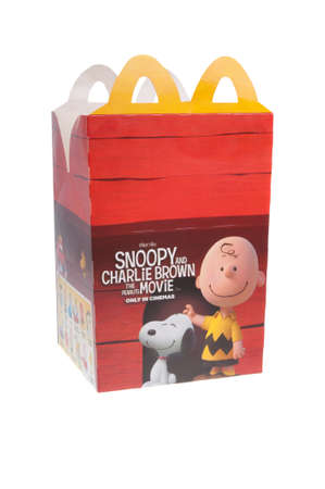 marketed: Adelaide, Australia - January 15, 2016: The Peanuts Movie McDonalds Happy Meal box isolated on a white background. Happy meals are marketed as a childrens meal and usually are used to promote movies and television series aimed at children. Editorial
