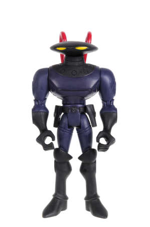 supervillian: Adelaide, Australia - February 9, 2016: A black manta action figure isolated on a white background from the DC Comics universe. Black Manta is the archenemy of Auqaman.Merchandise from the DC Comics universe are highly sought collectables.