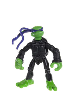 action figure: Adelaide, Australia - February 09, 2016: An isolated image of a Donatello TMNT Action Figure from the Teenage Mutant Ninja Turtles. Teenage Mutant Ninja Turtles is a very popular animated and movie series with merchandise being highly sought after collect Editorial