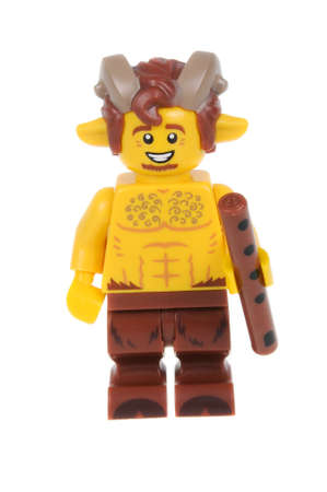 collectable: Adelaide, Australia - February 14, 2016:An isolated shot of a Faun Lego Minifigure from Series 15 of the collectable lego minifigure toys. Lego is very popular with children and collectors worldwide.