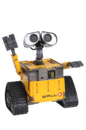 disney: Adelaide, Australia - February 14, 2016: A studio shot of a Wall-E Action Figure from the Disney animated movie Wall-E isolated on a white background. A character featured in the popular disney animated movie.