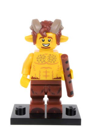 faun: Adelaide, Australia - February 14, 2016:An isolated shot of a Faun Lego Minifigure from Series 15 of the collectable lego minifigure toys. Lego is very popular with children and collectors worldwide.