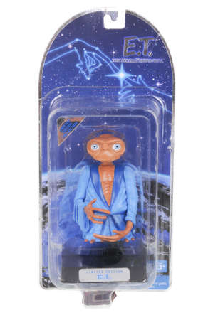 extra terrestrial: Adelaide, Australia - February 14, 2016: An isolated image of a ET Action Figure from the popular movie from the 1980s E.T. The Extra Terrestrial. Merchandise from the popular movie are highly sought after collectables.