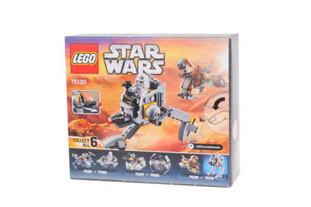 sought: Adelaide, Australia - February 14, 2016: A photo of a Lego Star Wars AT-DP Microfighters Lego Kit 75130 isolated on a white background. Lego and Star Wars merchandise are highly sought after collectables.