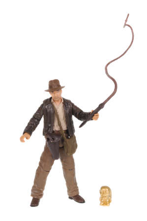 jones: Adelaide, Australia - February 03, 2016: A studio shot of a Indiana Jones action figure from the popular movie series. Merchandise from Marvel comics and movies are highy sought after collectables.