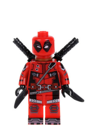 compatible: Adelaide, Australia - February 03, 2016: A studio shot of a Deadpool Lego Compatible minifigure from the Marvel comics universe.Lego is extremely popular worldwide with children and collectors. Editorial