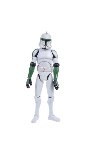 trooper: Adelaide, Australia - November 22, 2015: A studio shot of a Clone Trooper action figure from the movie series Star Wars. Merchandise from the Star Wars universe are highly sought after collectables.
